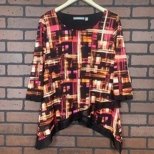 NY Collection 3/4 Sleeve Asymmetrical Blouse EUC